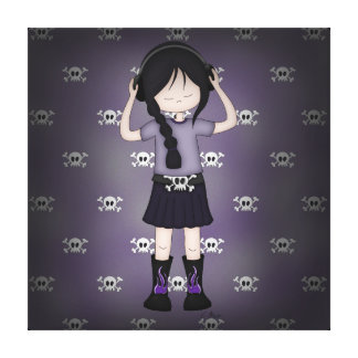 Whimsical Emo Goth Girl with Music Headphones Canvas Prints