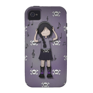 Whimsical Emo Goth Girl with Music Headphones iPhone 4 Cases