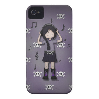 Whimsical Emo Goth Girl with Music Headphones iPhone 4 Covers