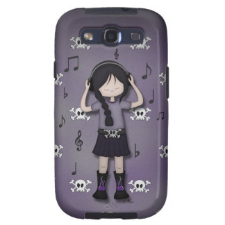 Whimsical Emo Goth Girl with Music Headphones Samsung Galaxy S3 Cases