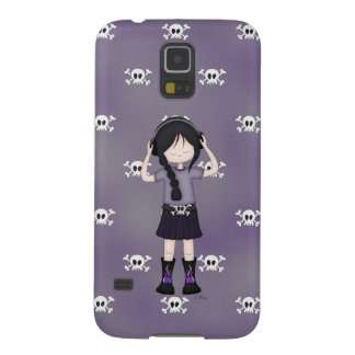 Whimsical Emo Goth Girl with Music Headphones Case For Galaxy S5