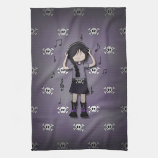 Whimsical Emo Goth Girl with Music Headphones Hand Towel