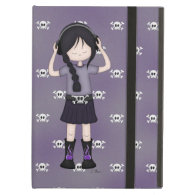 Whimsical Emo Goth Girl with Music Headphones iPad Cover
