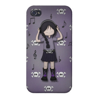 Whimsical Emo Goth Girl with Music Headphones iPhone 4/4S Cover