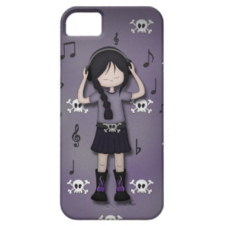 Whimsical Emo Goth Girl with Music Headphones iPhone SE/5/5s Case