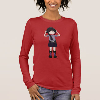 Whimsical Emo Goth Girl with Music Headphones Long Sleeve T-Shirt