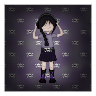 Whimsical Emo Goth Girl with Music Headphones Poster