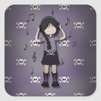 Whimsical Emo Goth Girl with Music Headphones Square Stickers