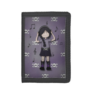 Whimsical Emo Goth Girl with Music Headphones Trifold Wallet