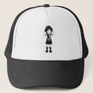 Whimsical Emo Goth Girl with Music Headphones Trucker Hat