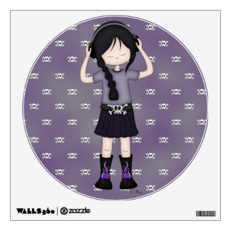 Whimsical Emo Goth Girl with Music Headphones Wall Sticker