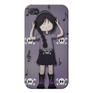 Whimsical Emo Goth Girl with Music Heads iPhone 4 Cases