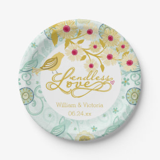 Whimsical Endless Love Wedding Paper Plates 7 Inch Paper Plate