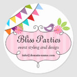Whimsical Event Styling and Design Stickers Round Sticker