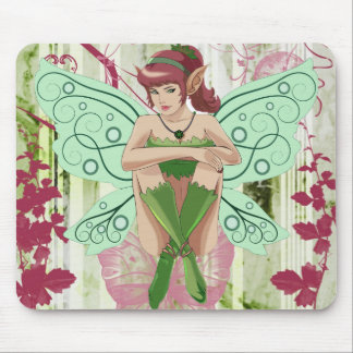 Whimsical Fairy Elf with Floral Background Mouse Pad