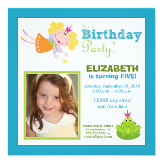 Whimsical Fairy Girls Birthday Party Invite: aqua Card