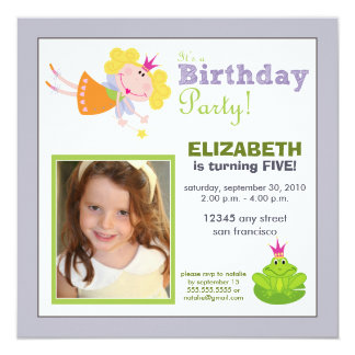 Whimsical Fairy Girls Birthday Party Invite: lilac 5.25x5.25 Square Paper Invitation Card