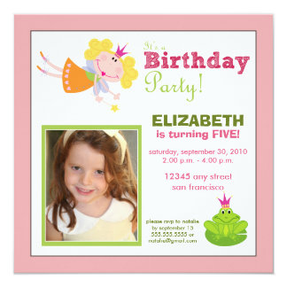 Whimsical Fairy Girls Birthday Party Invite: pink 5.25x5.25 Square Paper Invitation Card
