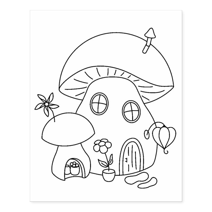 - Whimsical Fairy Mushroom Coloring Page Rubber Stamp Zazzle.com