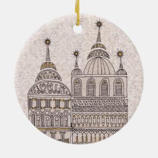 Whimsical Fairy Tale Illustration Buildings Ceramic Ornament