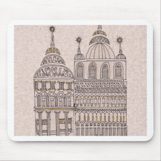 Whimsical Fairy Tale Illustration Buildings Mouse Pad