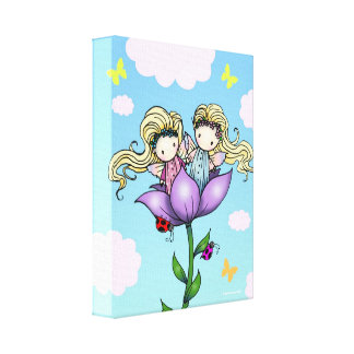 Whimsical Fairy Twins Wrapped Canvas Print