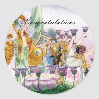 Whimsical Fairyland Party Classic Round Sticker