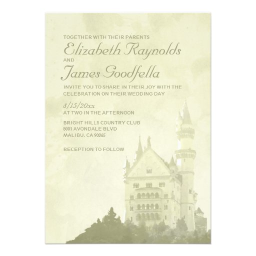 Whimsical Fairytale Castle Wedding Invitations Card