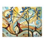 Whimsical Fall Colors Fun Art Postcard Design