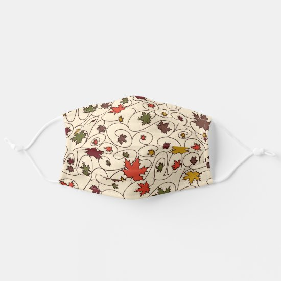 Whimsical Fall Curly Maple Leaf Pattern Cloth Face Mask