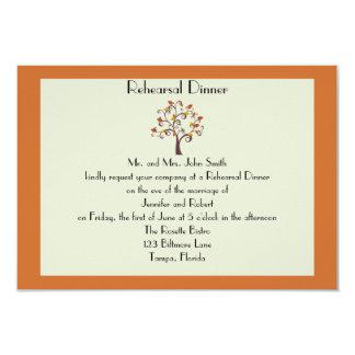 Whimsical Fall Leaf Wedding Rehearsal Dinner 3.5x5 Paper Invitation Card