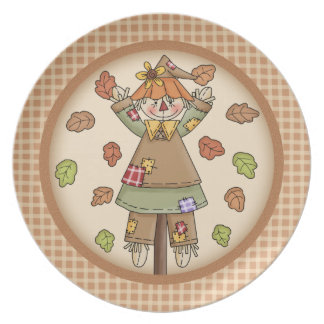 Whimsical Fall or Autumn Scarecrow Plaid Pattern Dinner Plates