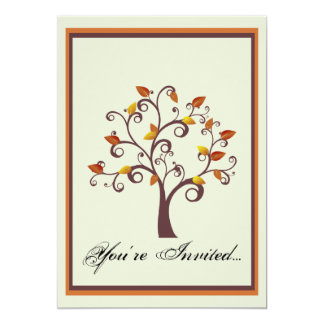 Whimsical Fall Tree Wedding Invitation