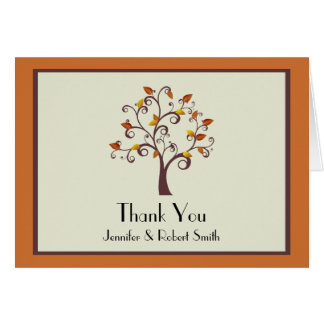Whimsical Fall Tree Wedding Thank You Stationery Note Card