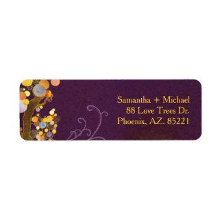 Whimsical Fall Trees Purple Wedding Label