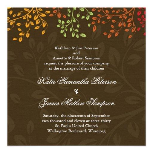 Whimsical Fall Wedding Invitation 525 Square Invitation Card