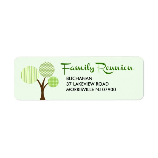 Whimsical Family Tree Family Reunion Return Label