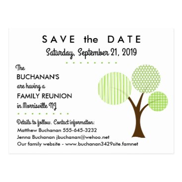reunions Whimsical Family Tree Reunion Save the Date Postcard