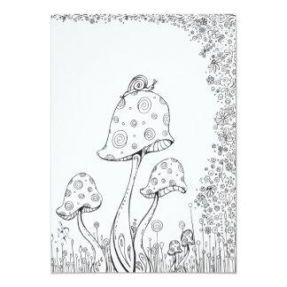 Whimsical Fantasy Mushroom Flower Coloring Card