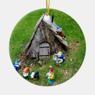 Whimsical Fantasy Outdoor Gnomes With House Ceramic Ornament