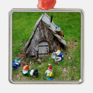 Whimsical Fantasy Outdoor Gnomes With House Metal Ornament