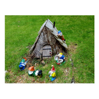Whimsical Fantasy Outdoor Gnomes With House Postcard