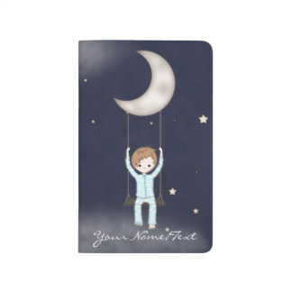 Whimsical Fantasy Young Boy Swinging on the Moon Journal