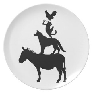 Whimsical Farm Animals Pets Dinner Plate