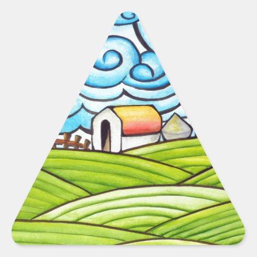 Whimsical Farm Triangle Sticker