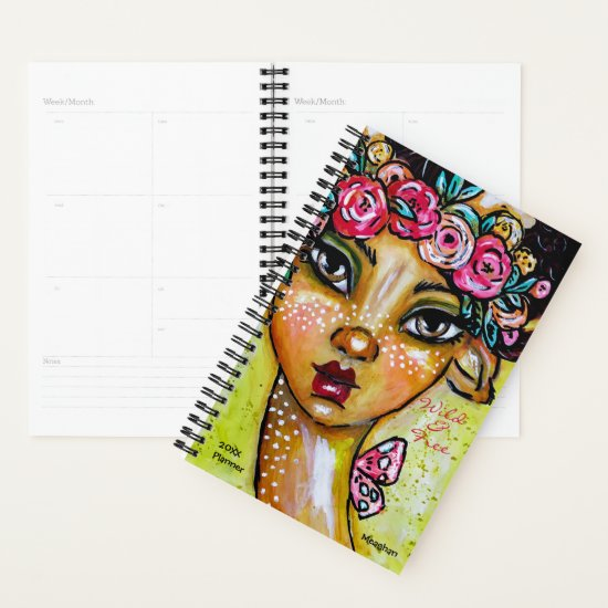 Whimsical Faun Colorful Cute Artsy Floral Add Name Planner
