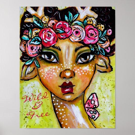 Whimsical Faun Floral Wreath Cute Boho Fantasy Art Poster