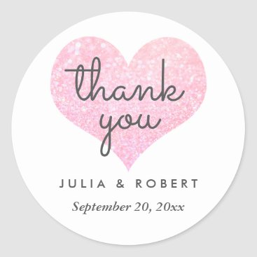 wedding_trends_now Whimsical Faux Rose Glitter Heart Thank You Classic Round Sticker