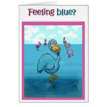 Whimsical Feel Better Soon Pink Flamingo Humor Greeting Cards