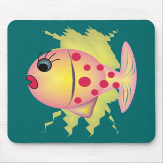 Whimsical Fish Art Gifts by gail gabel Mouse Pad